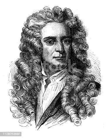 Antique illustration of scientist: Newton