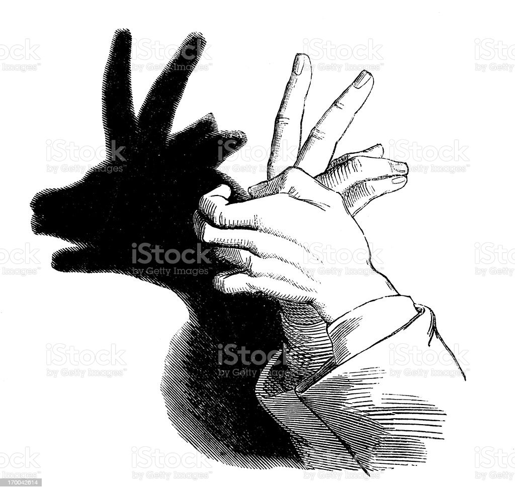 Antique illustration of Shadowgraphy: chamois royalty-free stock vector art