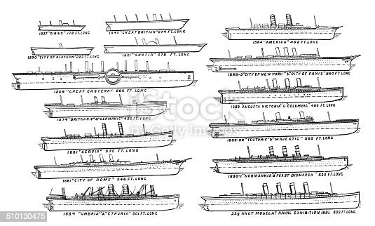 Antique illustration of ship: Atlantic liners