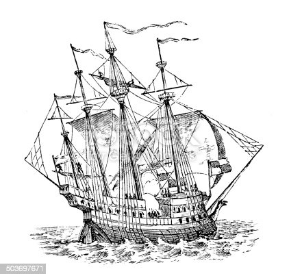 Antique illustration of ship: Great Harry