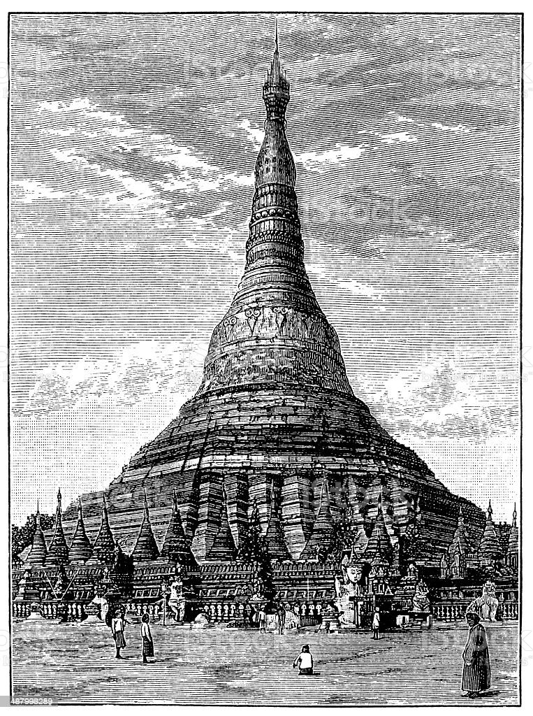 Antique illustration of Shwedagon Pagoda, Yangon, Burma vector art illustration