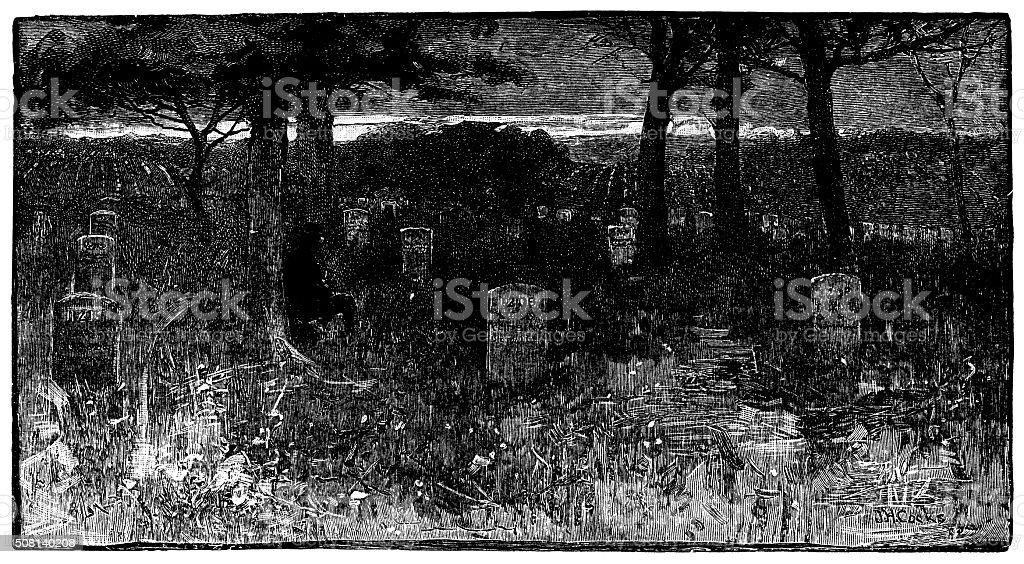 Antique illustration of Soldier's Graves, Arlington vector art illustration