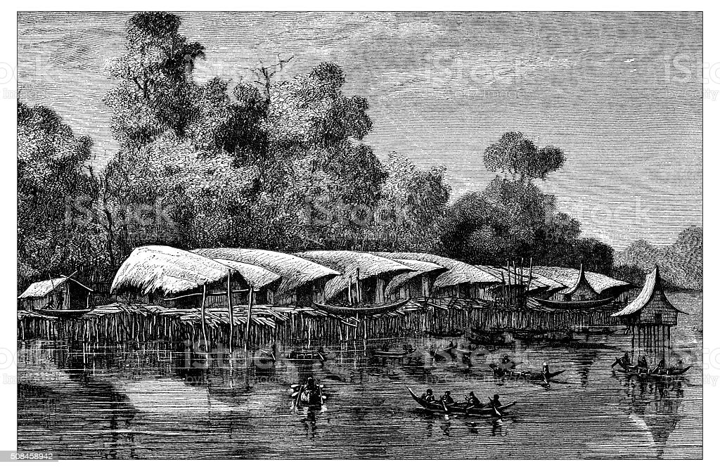 Antique illustration of Sowek, lake stilt house village (New Guinea) vector art illustration