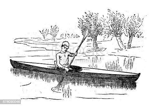 Antique illustration of sports and exercises: canoing