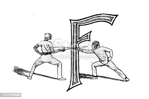 Antique illustration of sports and leisure activities: Capital letter F and fencing