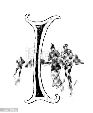 istock Antique illustration of sports and leisure activities: Capital letter I and ice-skating 1222799822