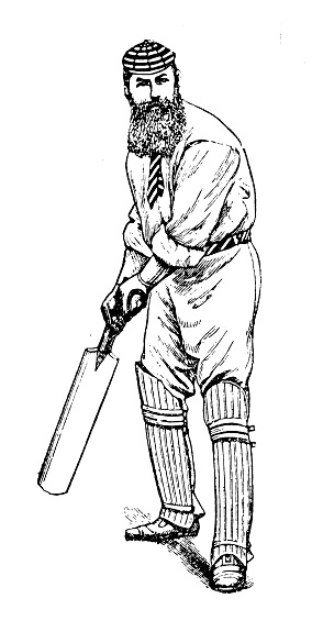 Antique illustration of sports and leisure activities: Cricket player