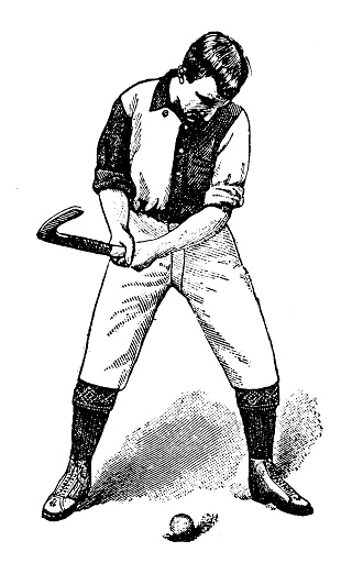 Antique illustration of sports and leisure activities: Field hockey player