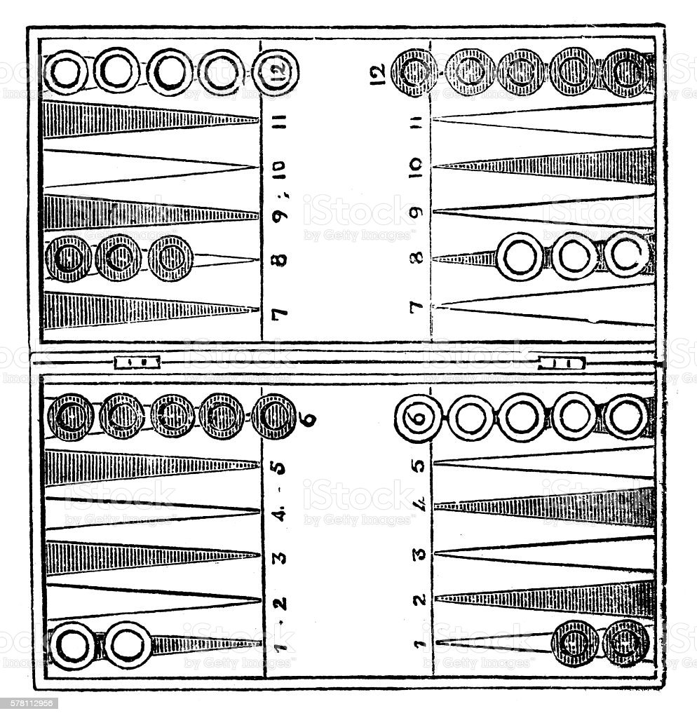 Antique illustration of sports and leisure games: backgammon - ilustración de arte vectorial