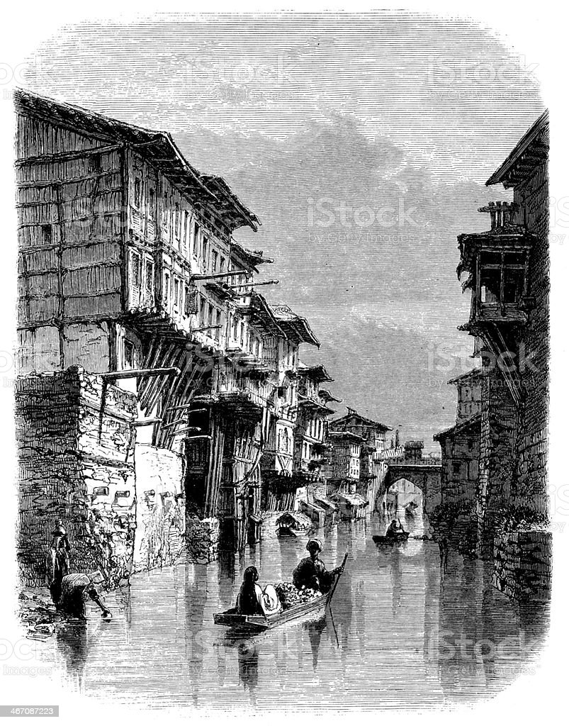 Antique Illustration Of Srinagar Kashmir India Stock