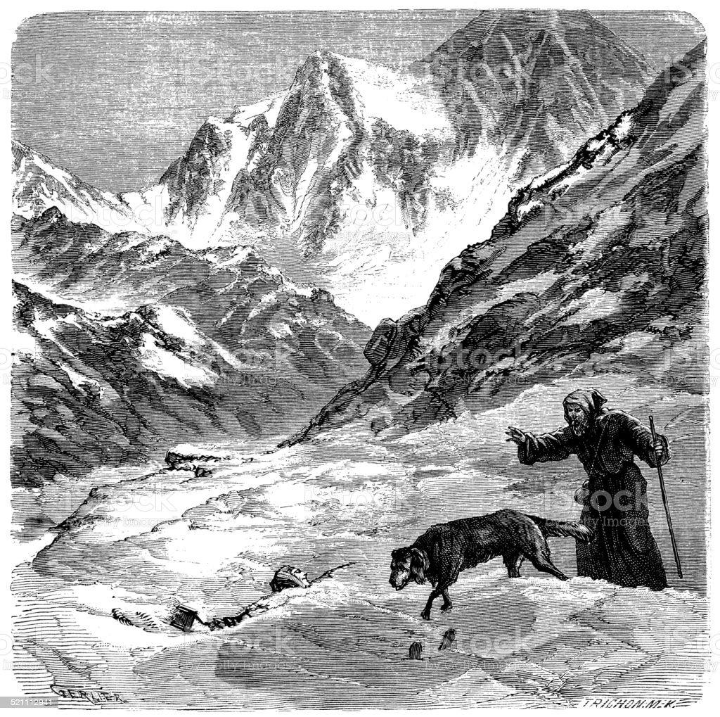 Antique illustration of St. Bernard dog vector art illustration