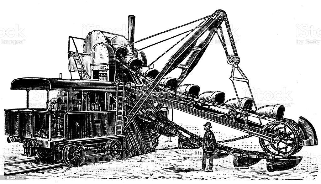 vecchie escavatrici a vapore le origini Antique-illustration-of-steam-excavator-illustration-id494237747