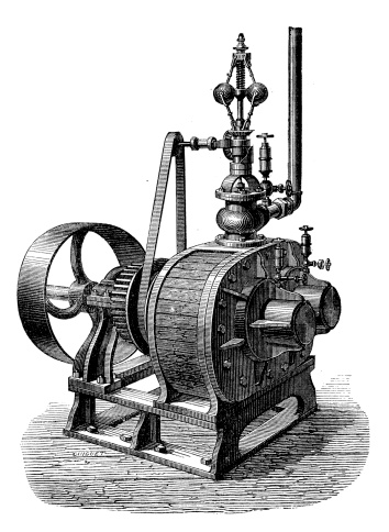 Antique illustration of steam powered machinery