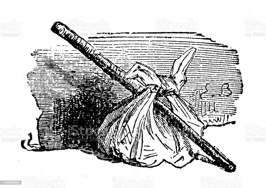 Antique illustration of stick and bag vector art illustration