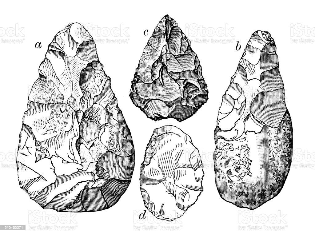 Antique illustration of Stone Age flint tools vector art illustration