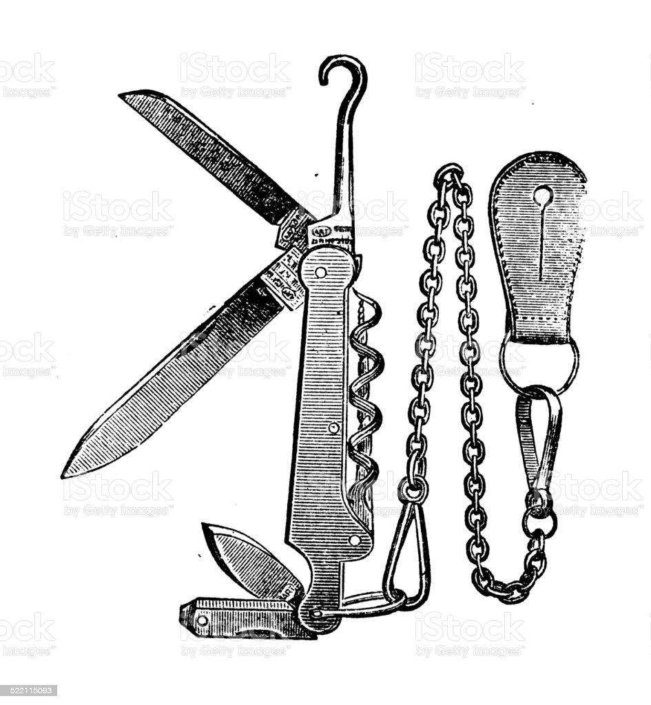 Antique illustration of swiss knife vector art illustration