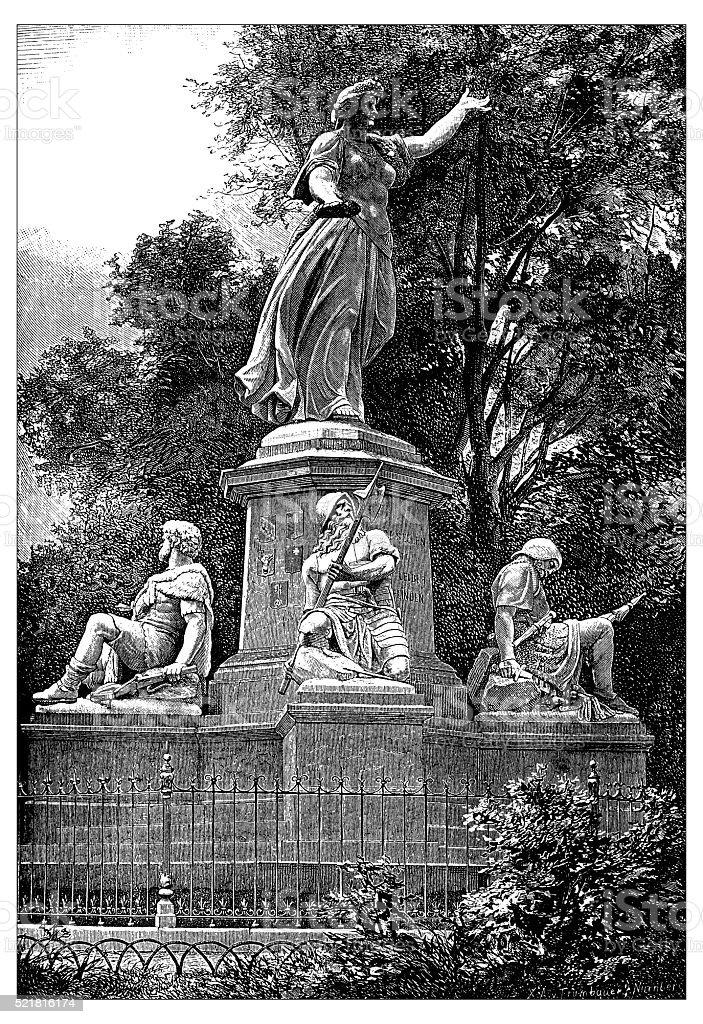 Antique illustration of Switzerland: Saint Jacques monument vector art illustration