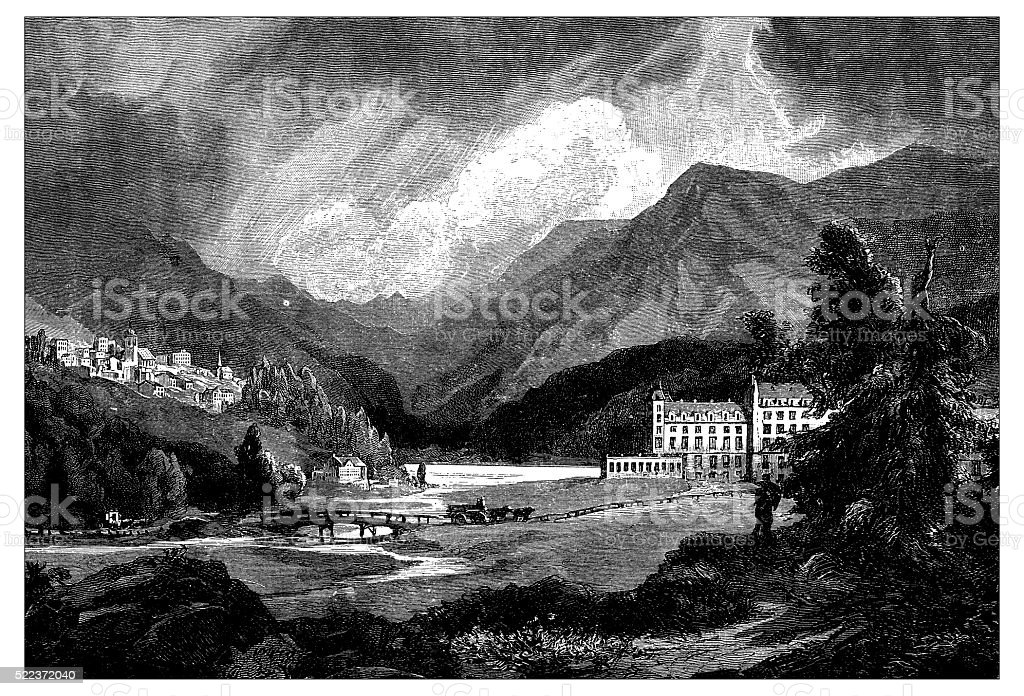 Antique illustration of Switzerland: Saint Moritz vector art illustration