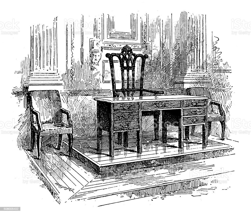 Antique illustration of table and chairs of declaration of independence vector art illustration