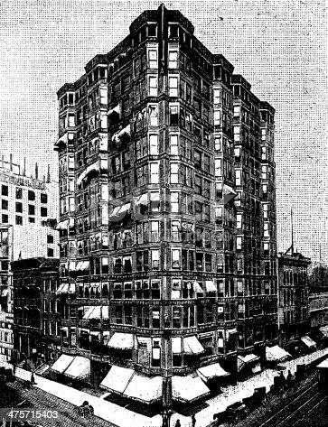 Antique illustration of Tacoma Building, Chicago