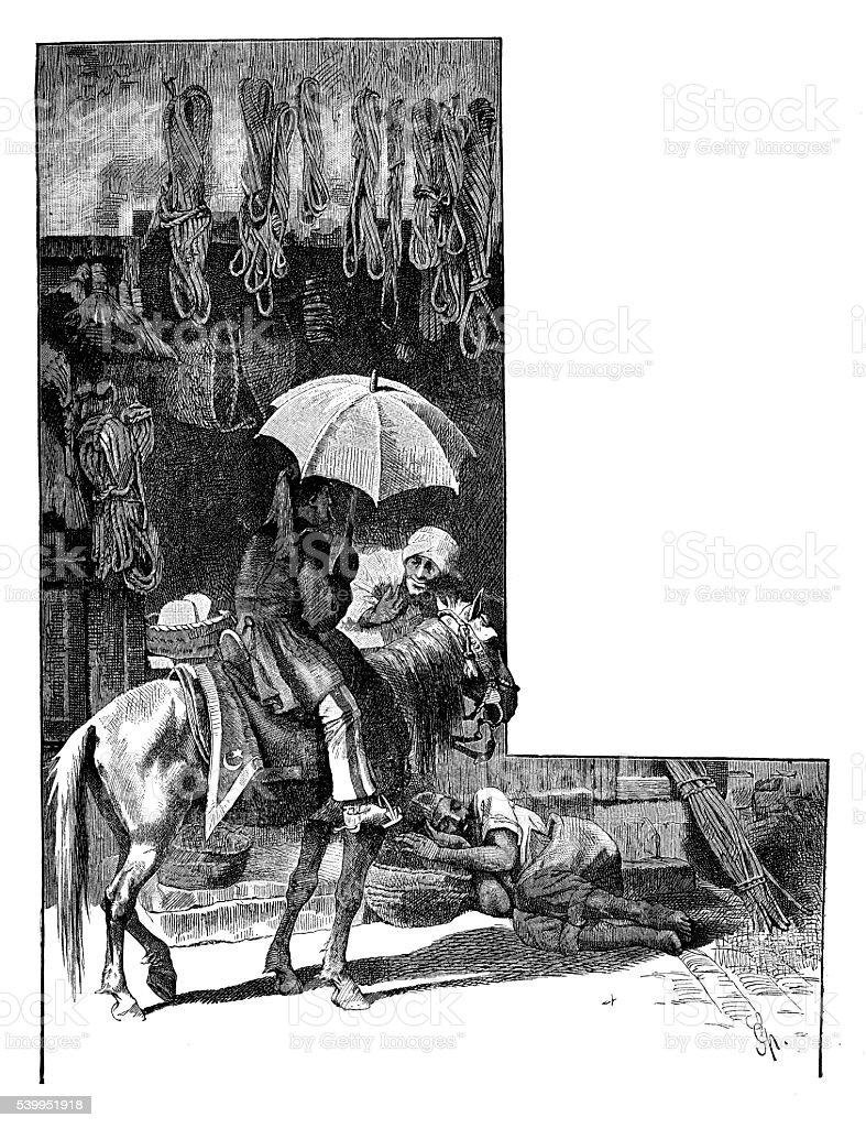 Ilustração antiga de Tânger (Tânger) bazar - ilustração de arte em vetor