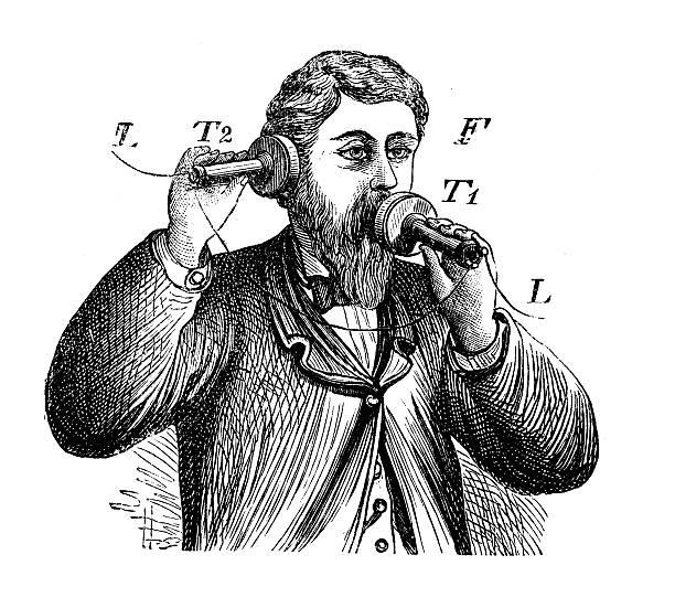 stockillustraties, clipart, cartoons en iconen met antique illustration of telephone - uitvinding