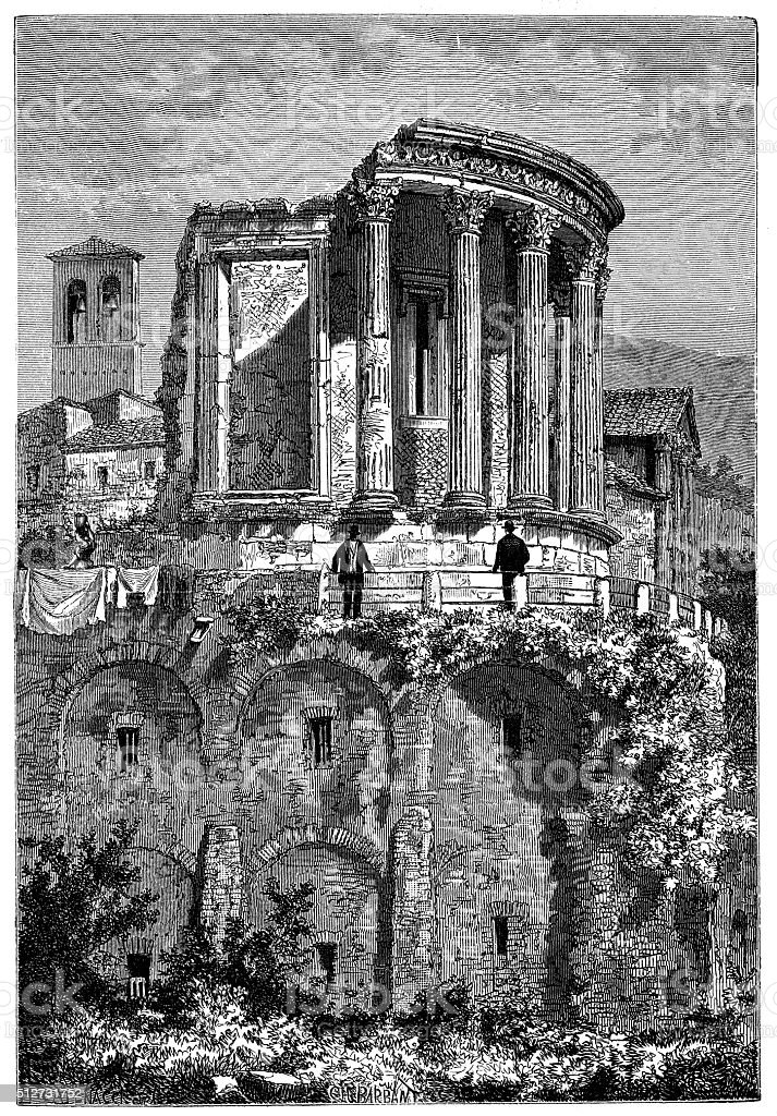 Antique illustration of Temple of Vesta (Tivoli, Italy) vector art illustration