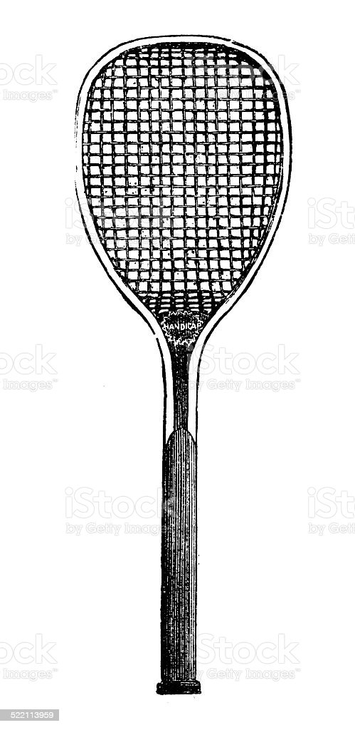 Antique illustration of tennis racket vector art illustration