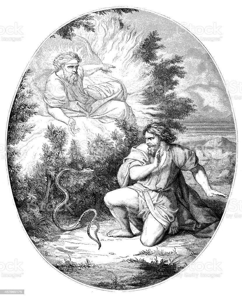 Antique illustration of the burning bush vector art illustration