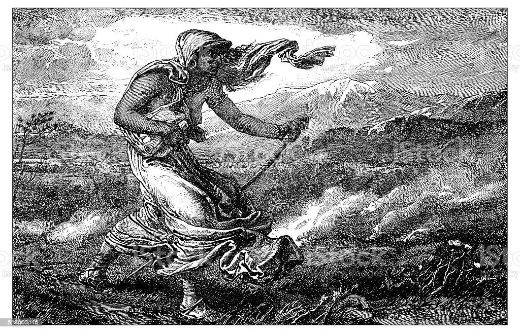 Antique illustration of the Cumean Sibyl vector art illustration