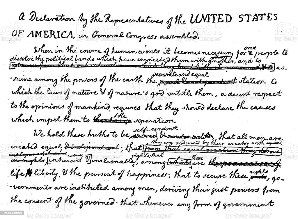 Antique illustration of the first draft of declaration of independence vector art illustration