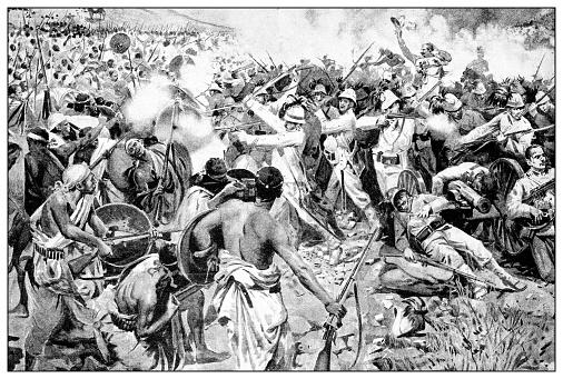 Antique illustration of the first Italo-Ethiopian war (1895-1896): Adua (Adwa) battle