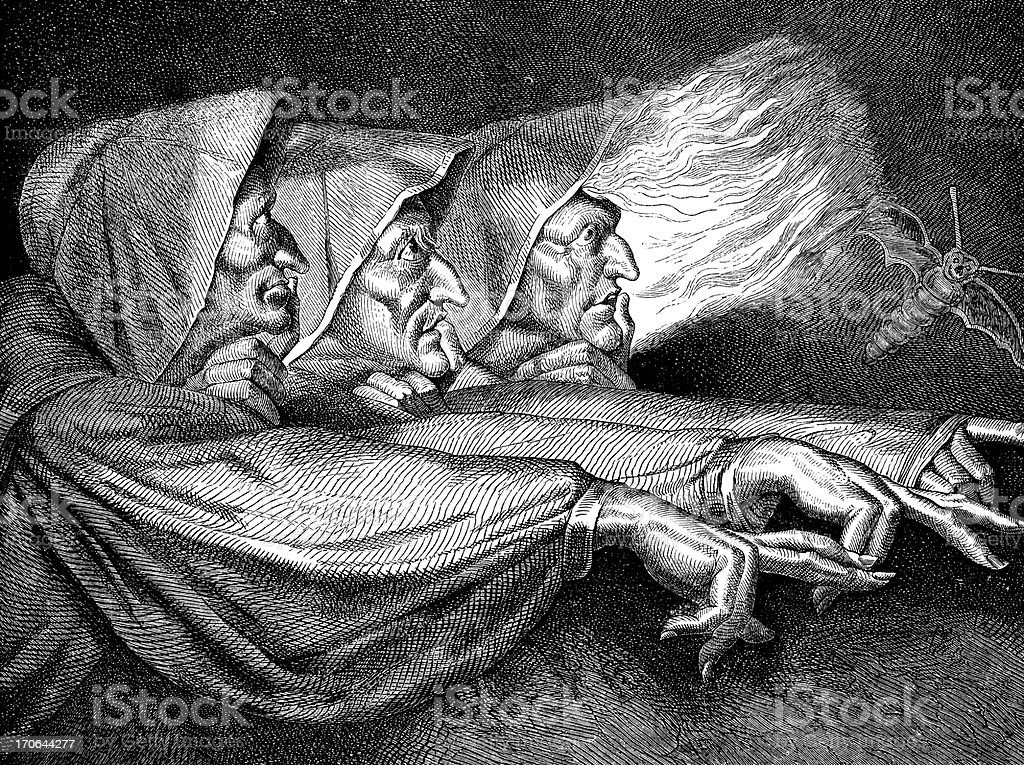Antique illustration of the three Macbeth witches vector art illustration