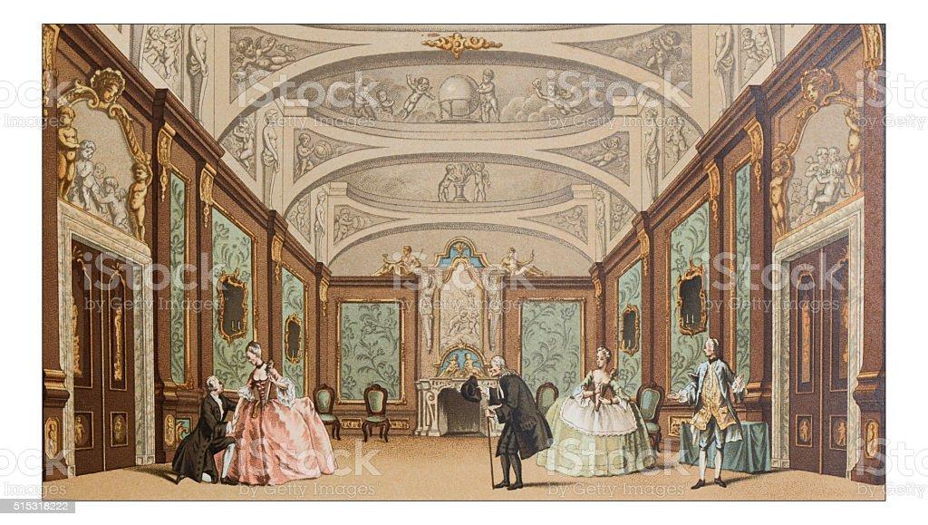 Antique illustration of theatre scene vector art illustration