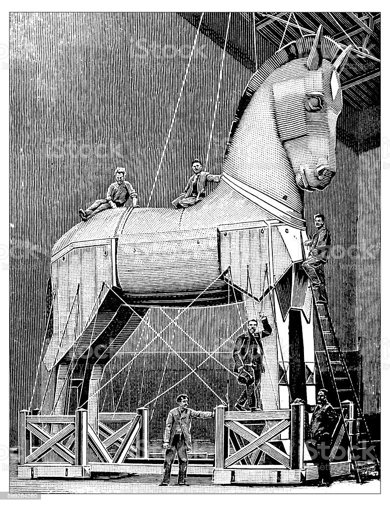 Antique Illustration Of Theatrical Reproduction Of Trojan Horse Stock Illustration Download Image Now Istock