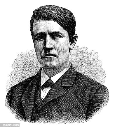 Antique illustration of Thomas Alva Edison