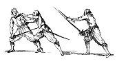 istock Antique illustration of three swordsmen fighting 501823446