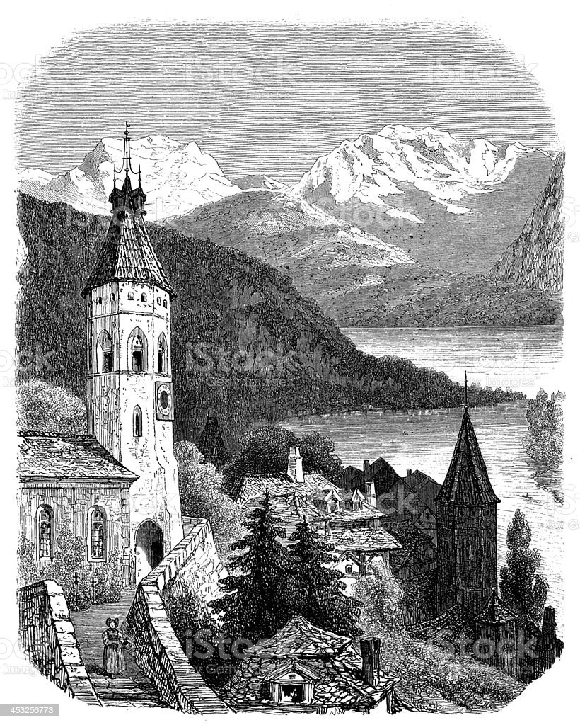Antique illustration of Thun vector art illustration