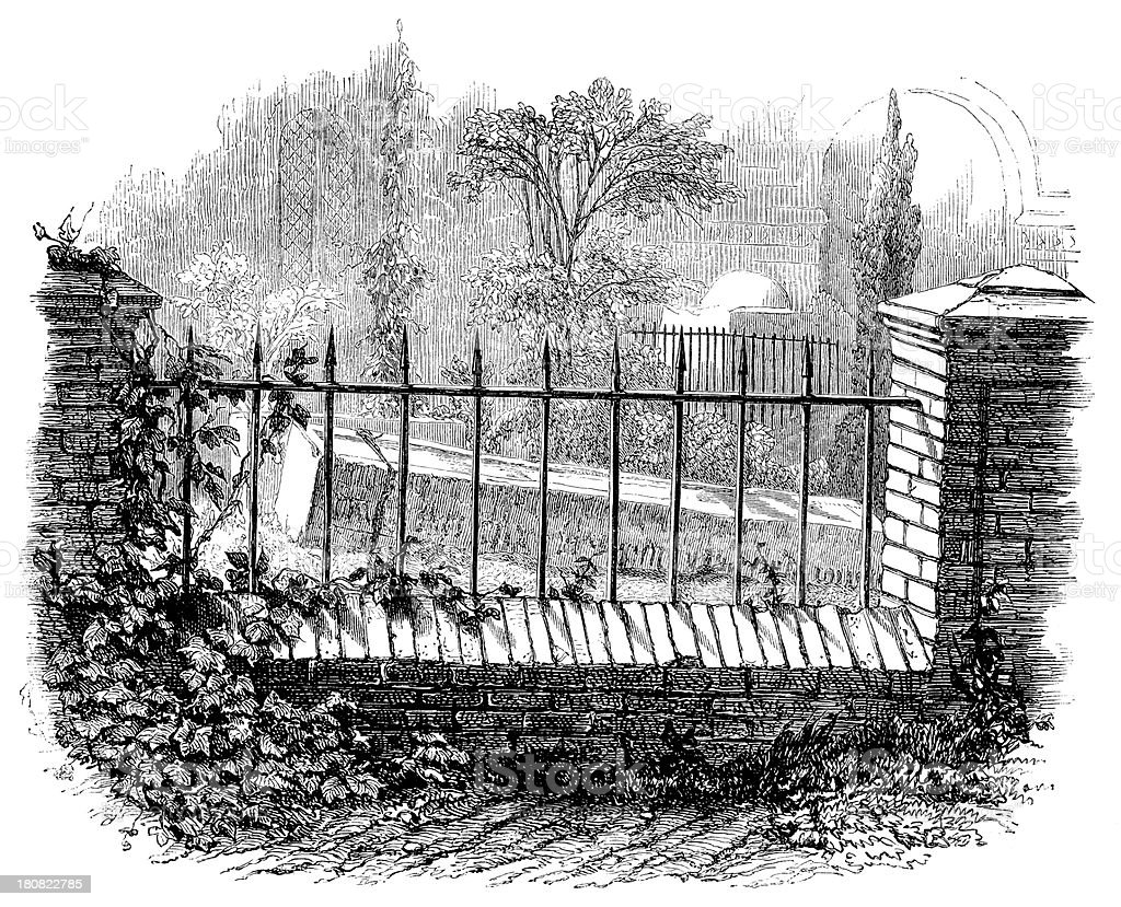 Antique illustration of tomb behind fence royalty-free stock vector art