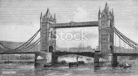 Vintage engraving of Tower Bridge, London, England. A combined bascule and suspension bridge in London. The bridge crosses the River Thames close to the Tower of London and has become an iconic symbol of London.