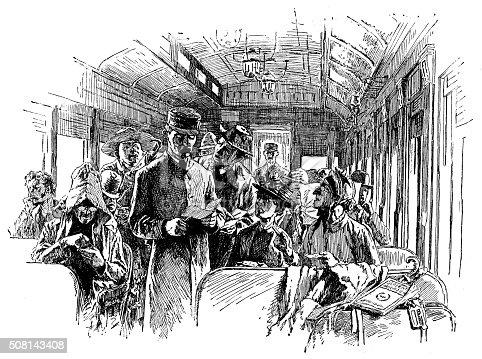 Antique illustration of train conductor