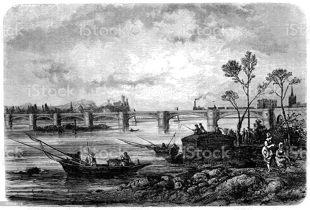 Antique illustration of train on bridge royalty-free stock vector art