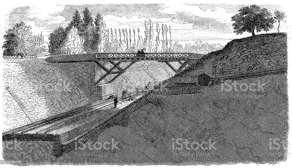 Antique illustration of trains, bridges and railroads construction royalty-free stock vector art