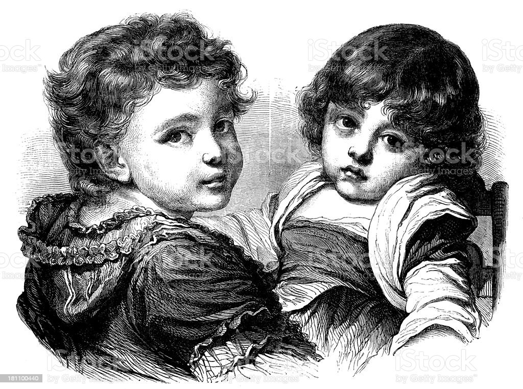 Antique illustration of two children looking at camera royalty-free antique illustration of two children looking at camera stock vector art & more images of 19th century style