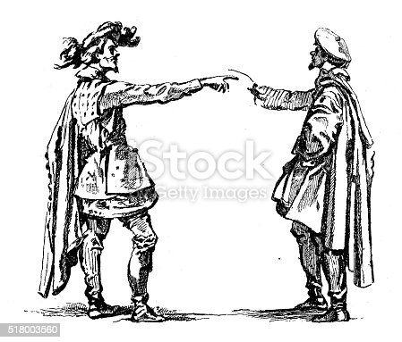 Antique illustration of the charlatan and the fooled (by Callot) representing two men in period costume talking and gesticulating
