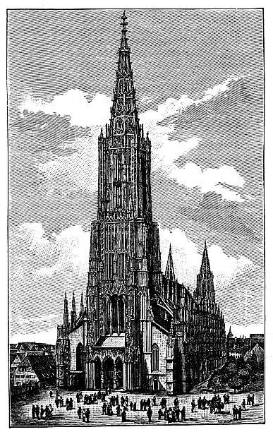 Antique illustration of Ulm Cathedral Antique illustration of Ulm Cathedral ulm minster stock illustrations