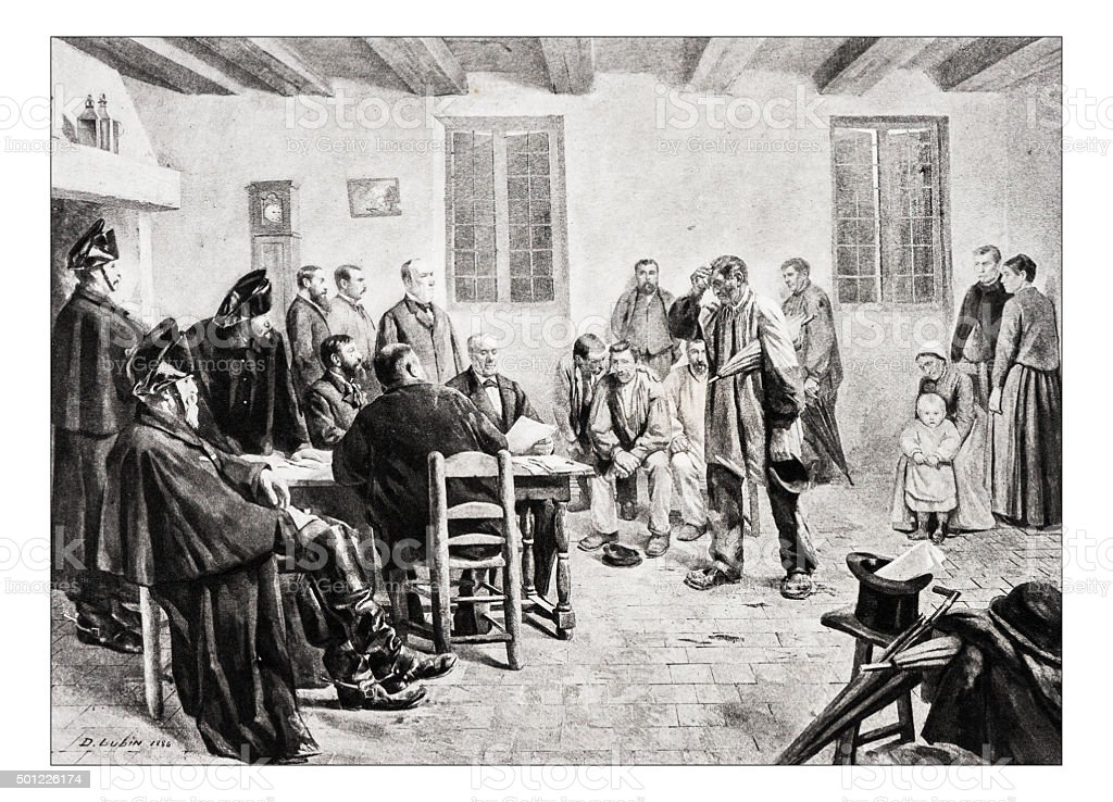 Antique illustration of 'Une information judiciaire au village' by Lubin vector art illustration