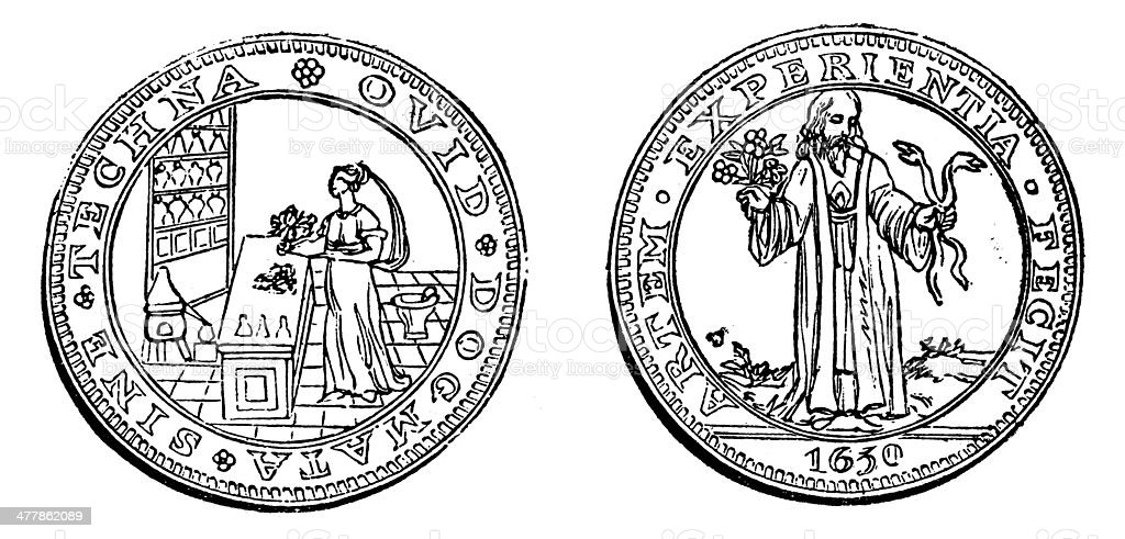 Antique illustration of university old coin medal (1600s) royalty-free antique illustration of university old coin medal stock vector art & more images of 19th century style