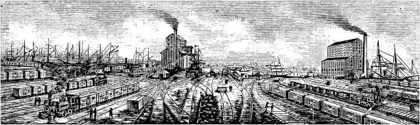 Antique illustration of USA: Baltimore, Maryland - Baltimore and Ohio railroad terminals vector art illustration