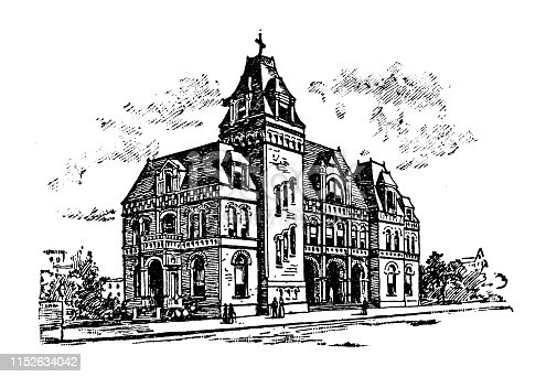Antique illustration of USA: Huntsville, Alabama - Post Office